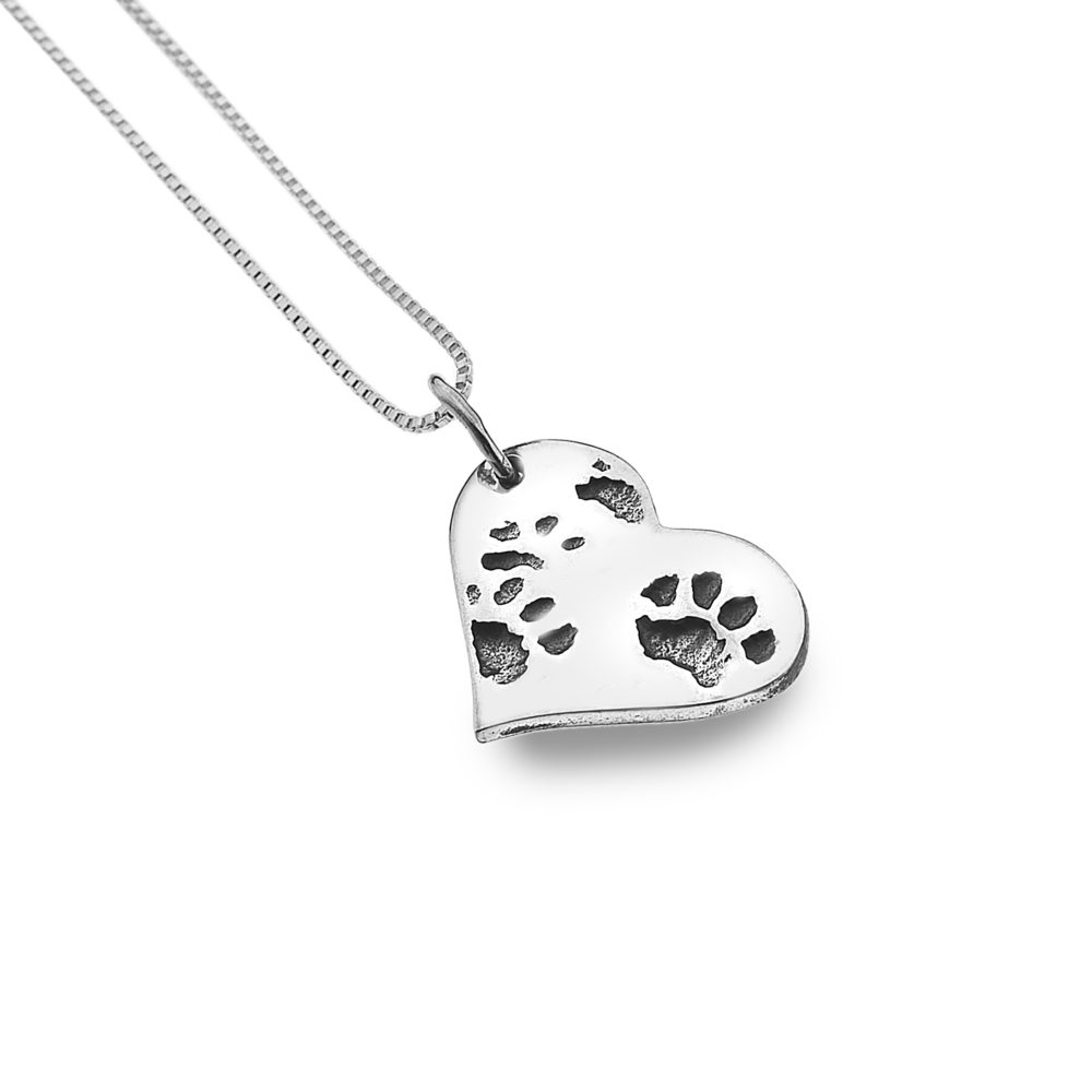 Dog paw print silver pendant chain stone art bakewell dog paw print silver pendant chain aloadofball Images